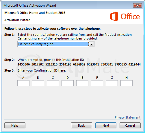 Office 2016 Online activation